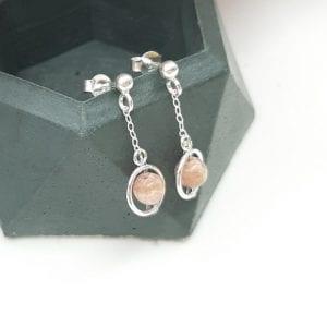 Boucles d'oreilles clous, Funambule, Rhodochrosite, roses3