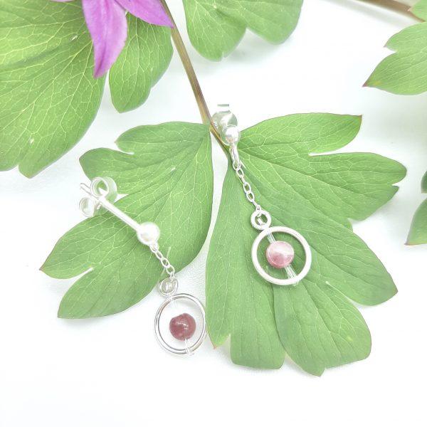 bloucle-orielle-pierres-bijoux-argent-cadeau-fete-mere-femme-funambule-tourmaline-rose-4